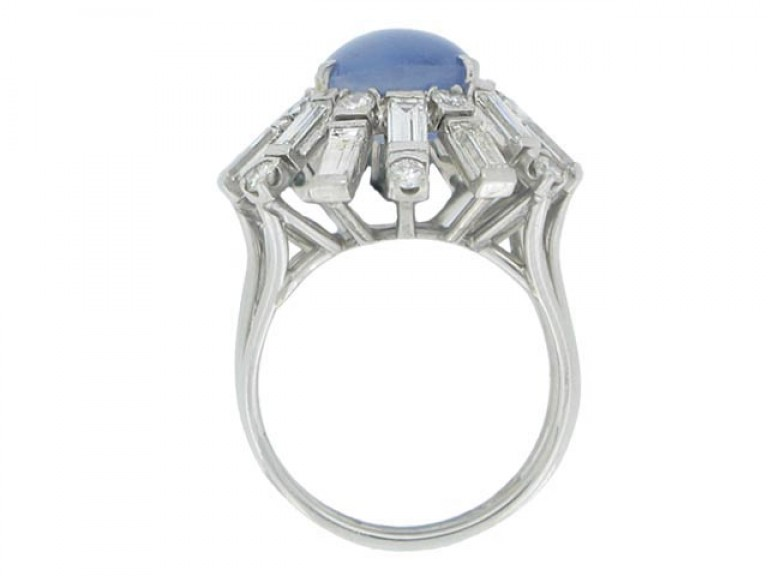 back view Star sapphire and diamond cocktail ring, circa 1950.