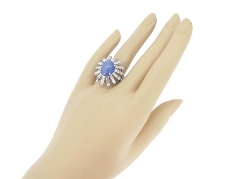 hand view Star sapphire and diamond cocktail ring, circa 1950.