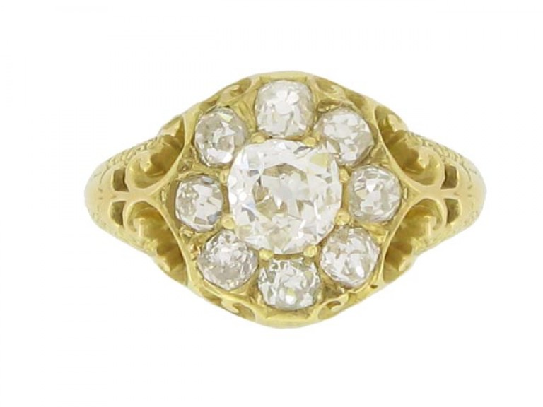 front view Antique diamond coronet cluster ring, circa 1880.