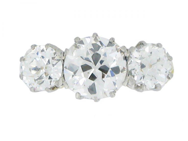 front view Edwardian three stone diamond ring, circa 1905.