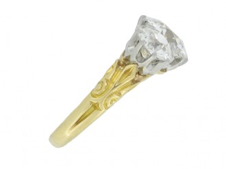 front view Edwardian three stone diamond ring, circa 1905.