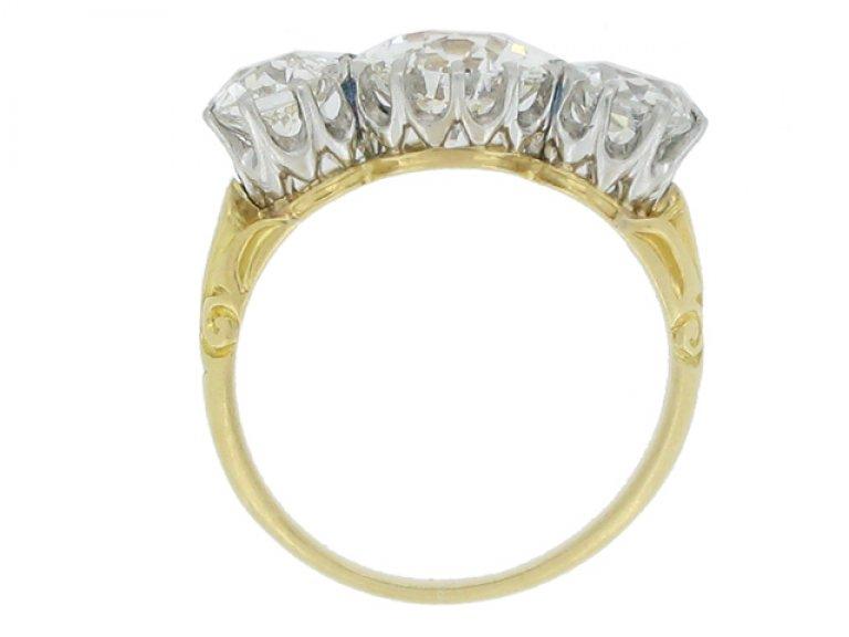 back view Edwardian three stone diamond ring, circa 1905.