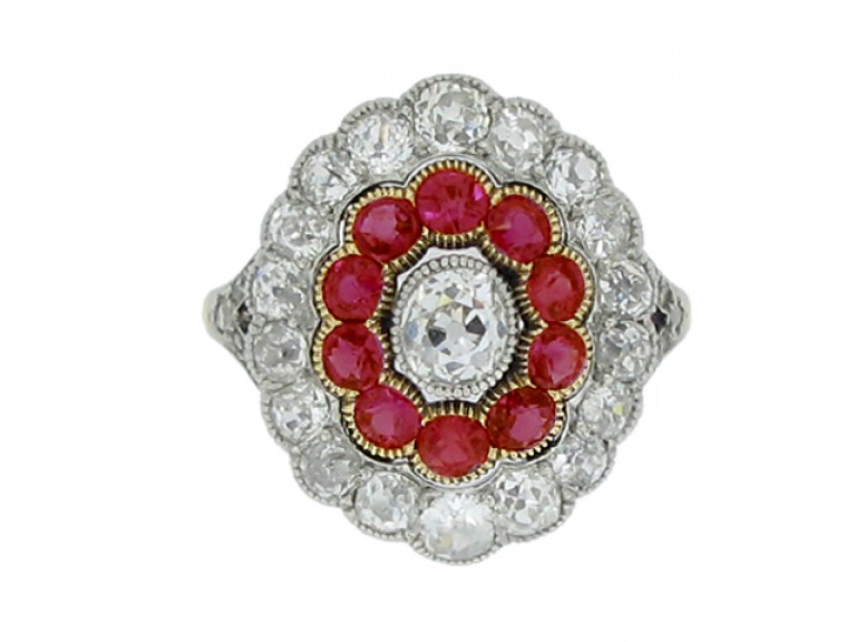 front view Edwardian diamond and ruby coronet cluster ring, circa 1905.