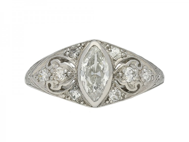 antique Ornate marquise diamond ring berganza hatton garden