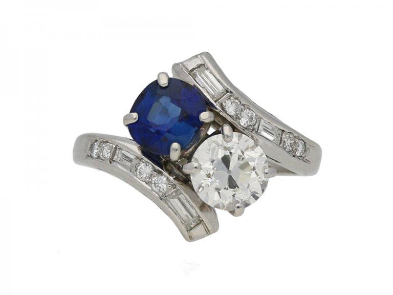 Sapphire and diamond cross over ring berganza hatton garden