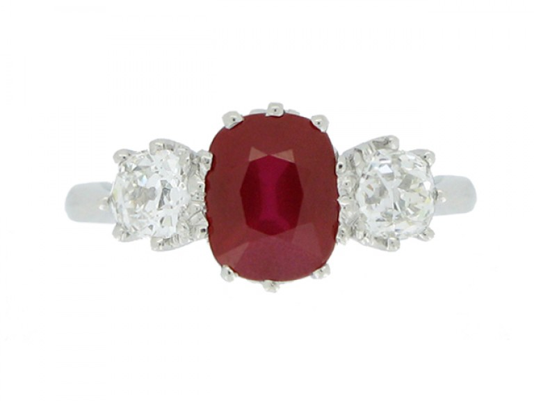 front view Three stone ruby and diamond ring, circa 1920.