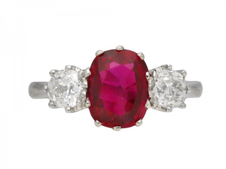 back view Three stone ruby and diamond ring, circa 1920.