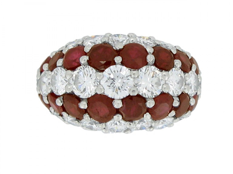 front view Cartier ruby and diamond ring  circa 1950.