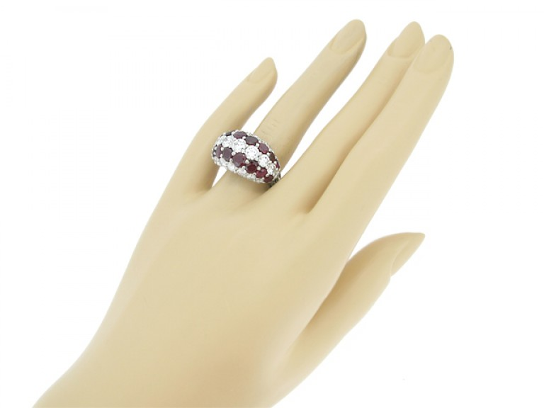 hand view Cartier ruby and diamond ring  circa 1950.