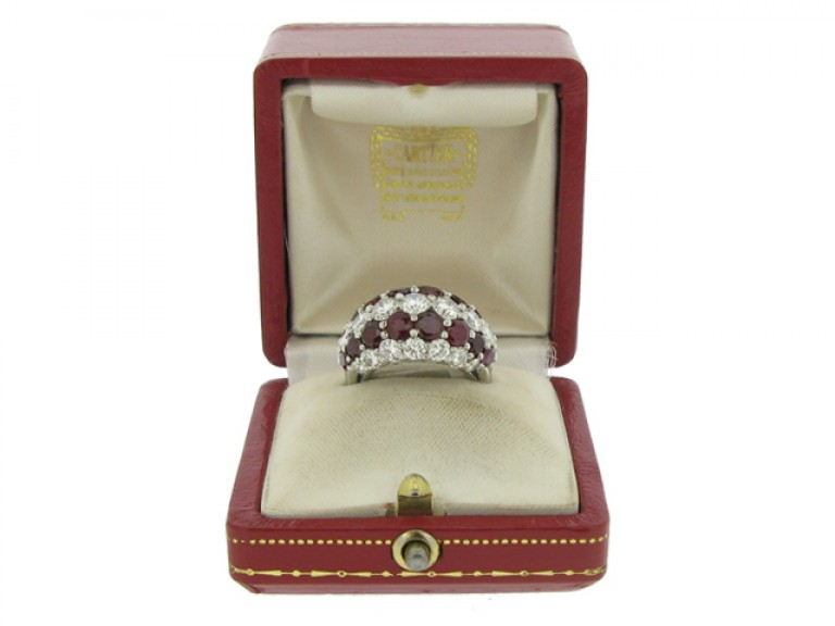 boxed view Cartier ruby and diamond ring  circa 1950.
