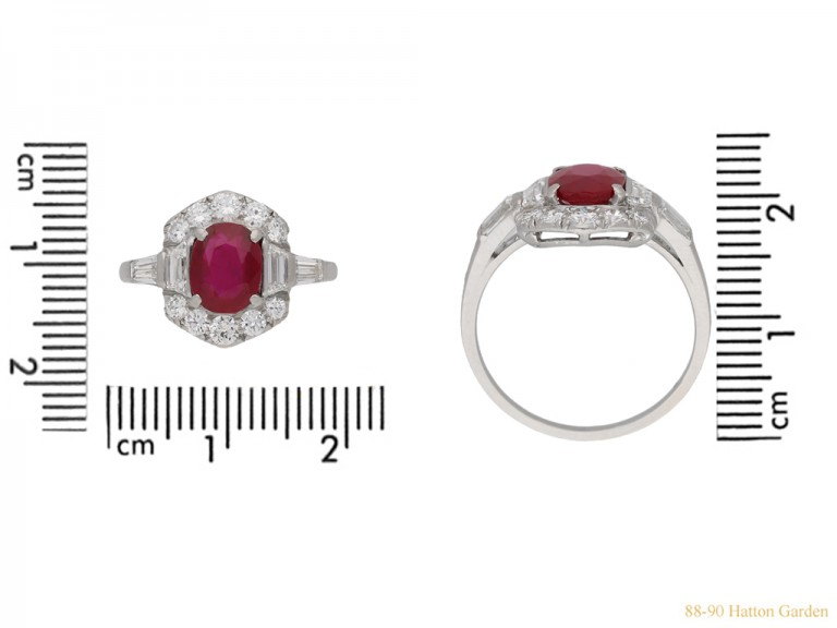 front view Art Deco ruby diamond ring berganza hatton garden