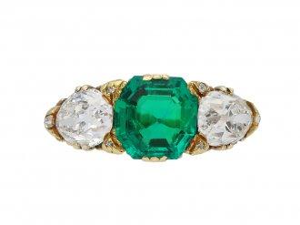 antique emerald diamond three stone ring hatton garden berganza
