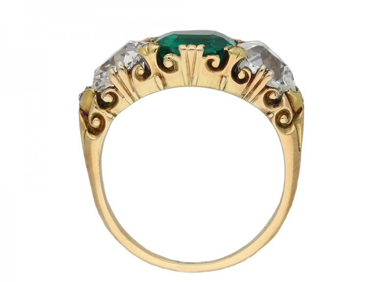 antique emerald diamond three stone ring hatton garden berganza