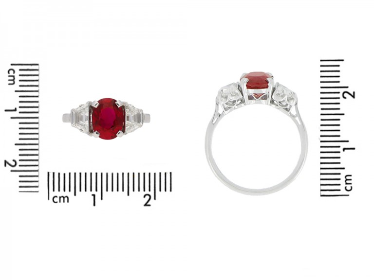 front view Pigeon Blood Burmese ruby and diamond ring, circa 1935. berganza hatton garden