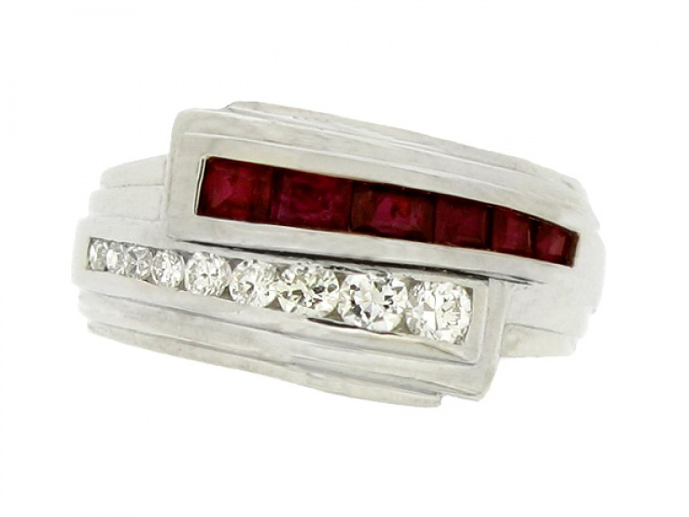 front view Bailey, Banks & Biddle art deco ruby and diamond ring,