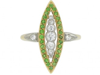 front view Diamond and demantoid garnet marquise shape ring, circa 1910.