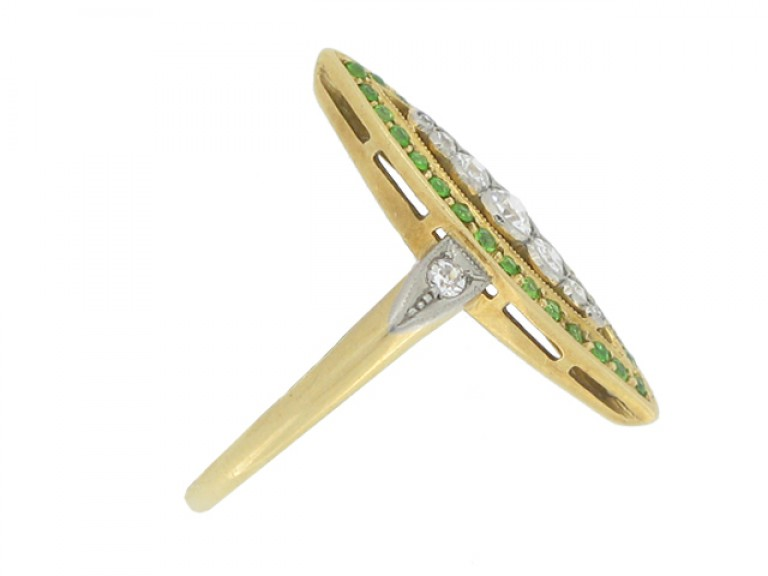 side view Diamond and demantoid garnet marquise shape ring, circa 1910.