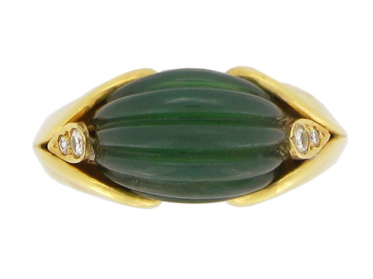front veiw Vintage Van Cleef & Arpels green agate and diamond ring, circa 1970.