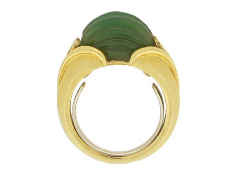 back view Vintage Van Cleef & Arpels green agate and diamond ring, circa 1970.