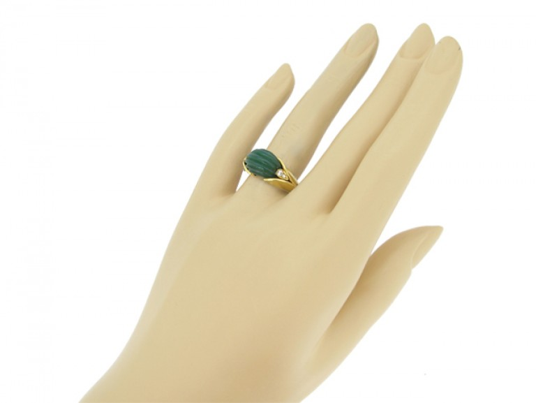 hand view Vintage Van Cleef & Arpels green agate and diamond ring, circa 1970.