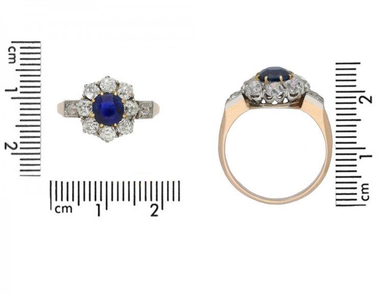 Antique sapphire diamond cluster ringberganza hatton garden