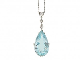 front antique aquamarine diamond pendant berganza hatton garden