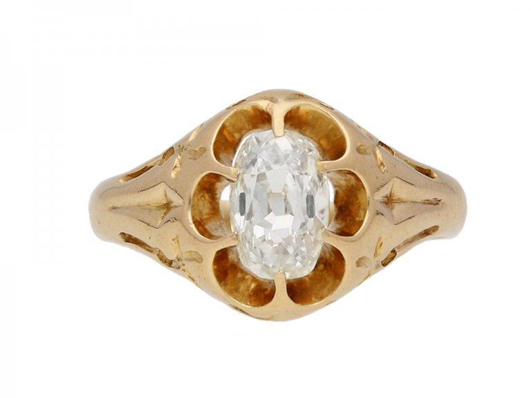 Antique solitaire old mine diamond ring berganza hatton garden