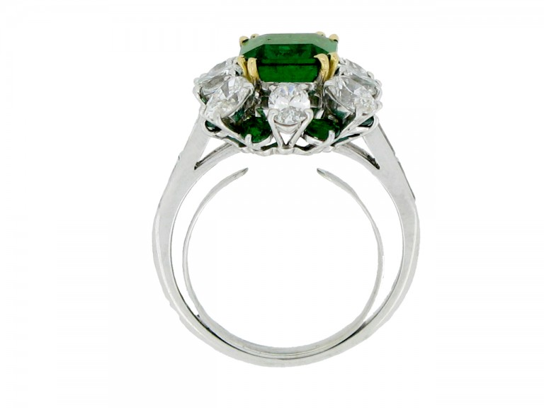 back view Emerald and diamond cluster ring, French, circa 1960.