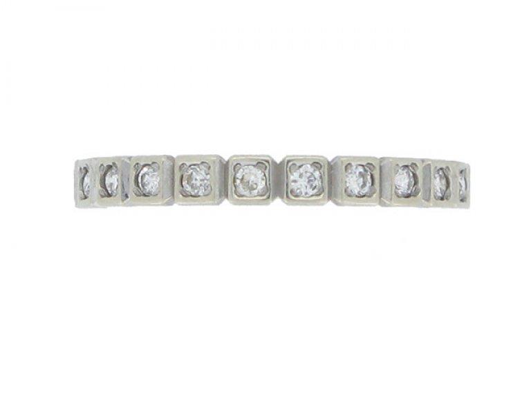 Diamond set eternity ring, circa 1950.