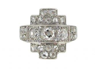 front view Art Deco diamond ring, circa 1930.