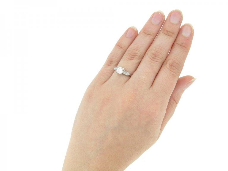 hand view Diamond ring, American, circa 1935.