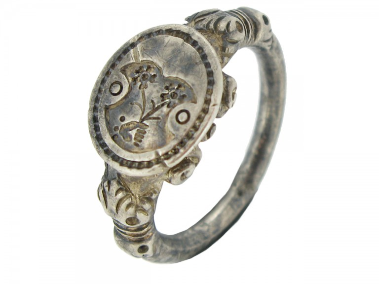 side view Silver seal matrix ring, 18th century.
