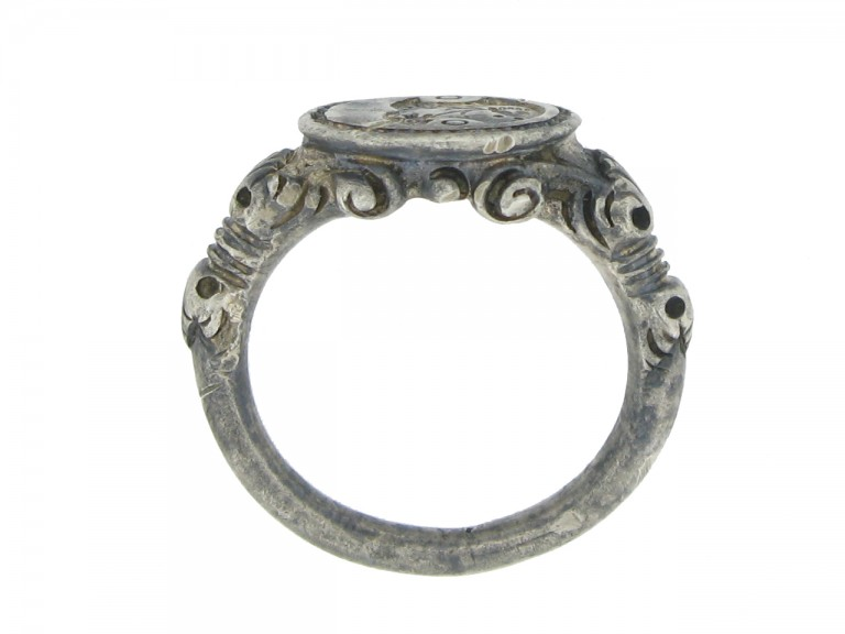 hand view Silver seal matrix ring, 18th century.