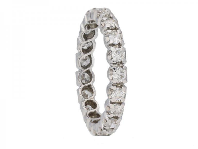 side view vintage diamond eternity ring berganza hatton garden