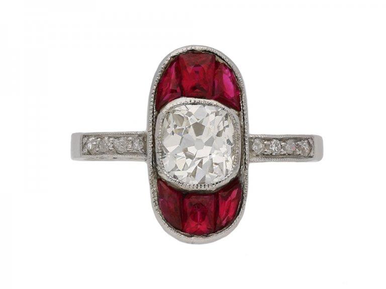 front antique diamond ruby ring hatton garden berganza