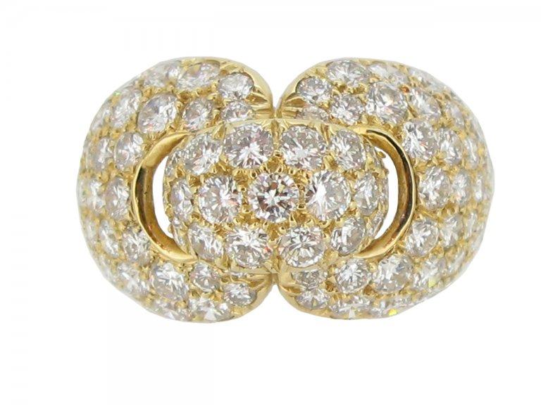 front view Boucheron Paris diamond and yellow gold dress ring, French, circa 1970.