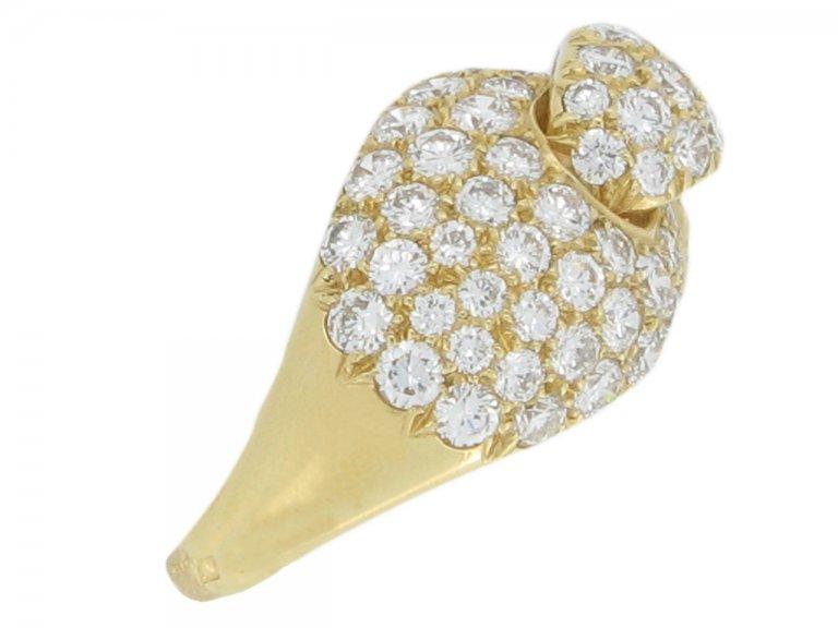 side view Boucheron Paris diamond and yellow gold dress ring, French, circa 1970.