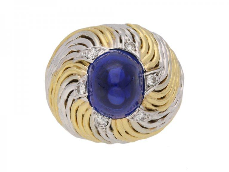 front vintage sapphire diamond Sterle ring hatton garden berganza