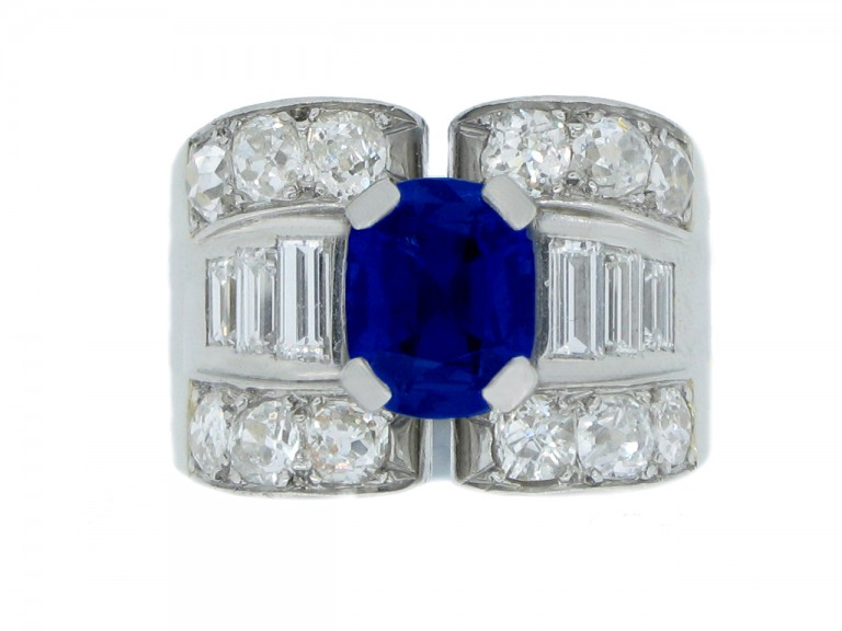 front view Mauboussin sapphire and diamond ring, French, circa 1947.
