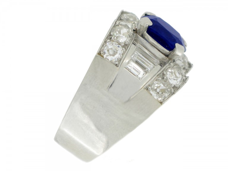 side view Mauboussin sapphire and diamond ring, French, circa 1947.
