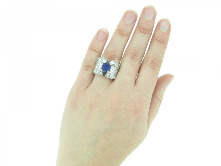 Mauboussin sapphire and diamond ring, French, circa 1947.
