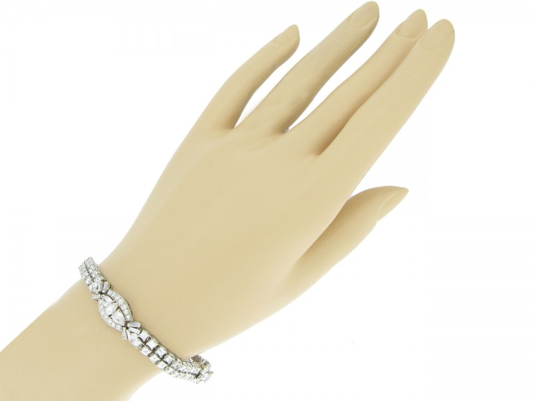 hand view Oscar Heyman Brothers diamond bracelet, circa 1958.