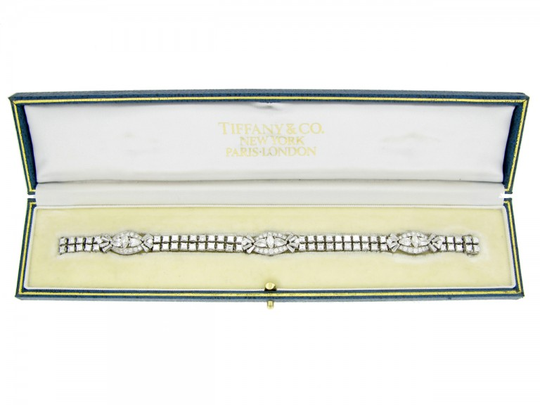 boxed view Oscar Heyman Brothers diamond bracelet, circa 1958.