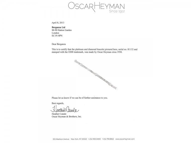 cert view Oscar Heyman Brothers diamond bracelet, circa 1958.