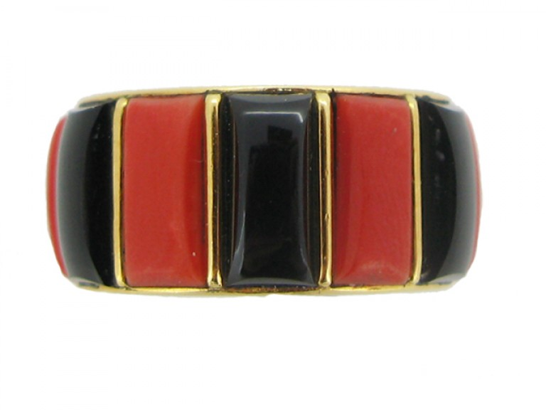 front view Cartier vintage coral & onyx ring, French, circa 1975.