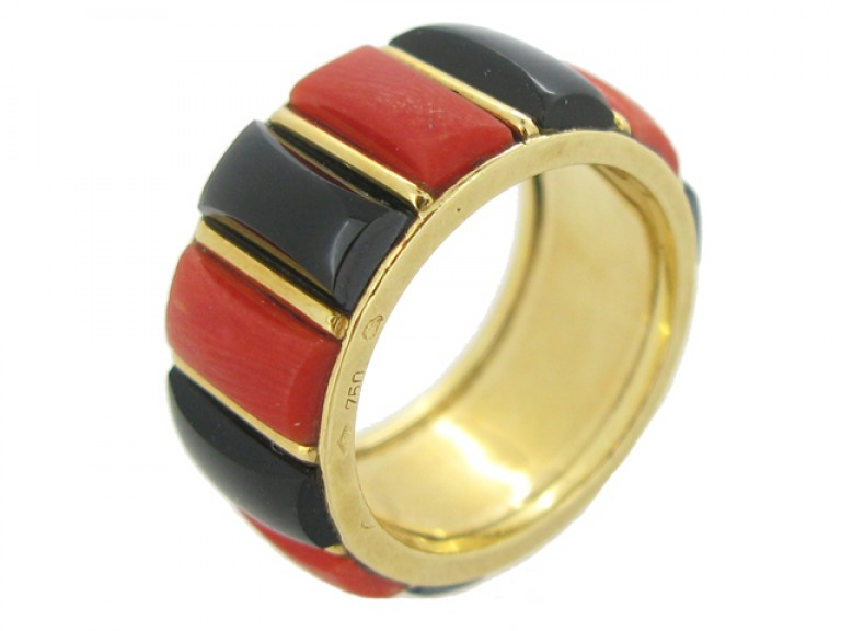 side view Cartier vintage coral & onyx ring, French, circa 1975.