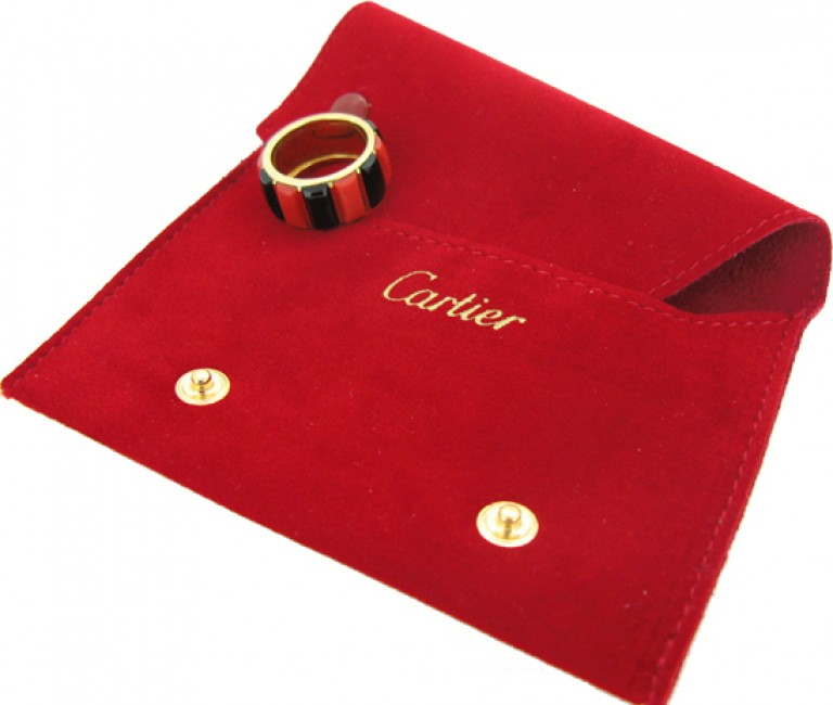 boxed view Cartier vintage coral & onyx ring, French, circa 1975.