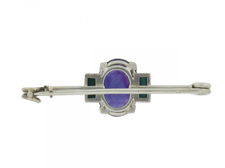 side view Cartier Art Deco amethyst and turquoise brooch, French, circa 1925.