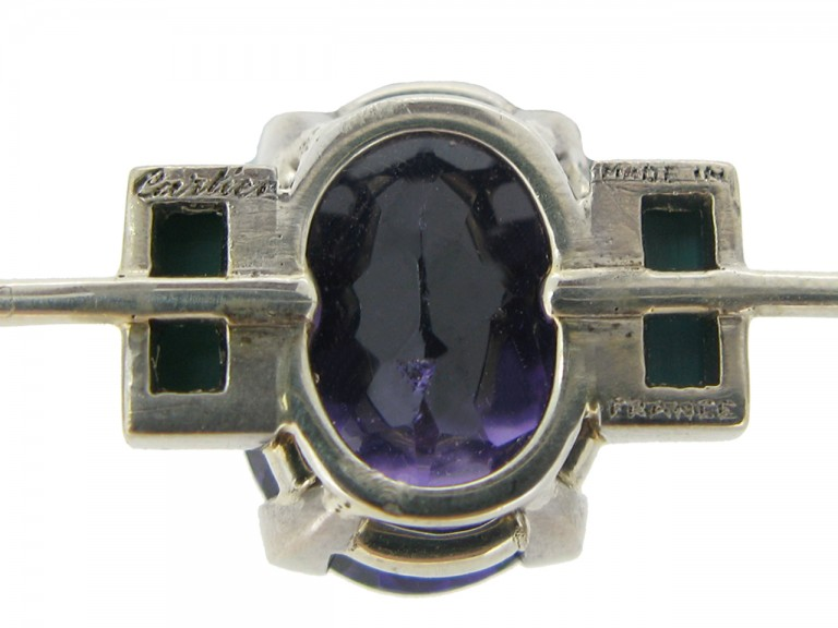 mark view Cartier Art Deco amethyst and turquoise brooch, French, circa 1925.
