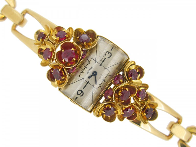front view vintage Cartier ruby set watch berganza hatton garden